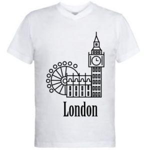 Męska koszulka V-neck Napis: London - PrintSalon