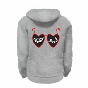 Kid's zipped hoodie % print% Lookin' good