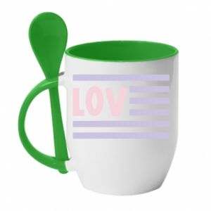 Kubek z ceramiczną łyżeczką Lov