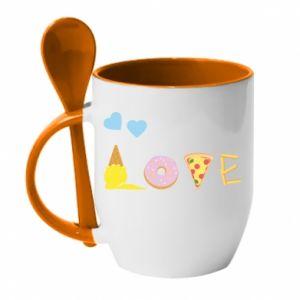 Kubek z ceramiczną łyżeczką Love any food