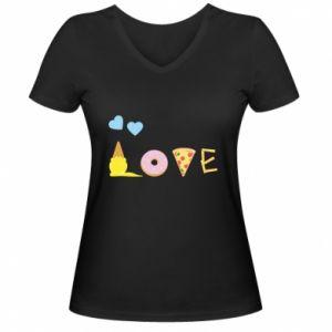 Damska koszulka V-neck Love any food