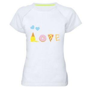 Damska koszulka sportowa Love any food