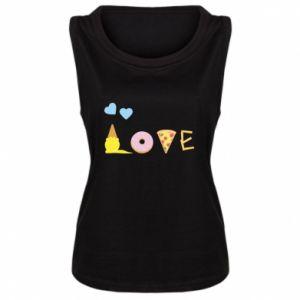 Damska koszulka bez rękawów Love any food