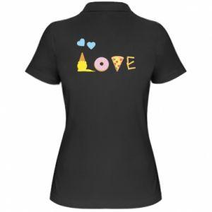 Damska koszulka polo Love any food