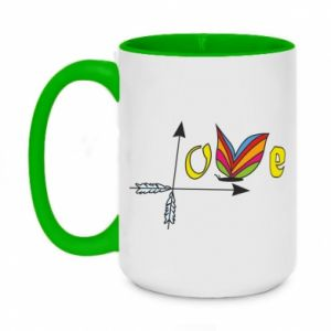 Two-toned mug 450ml Love Butterfly