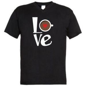 Męska koszulka V-neck Love coffee