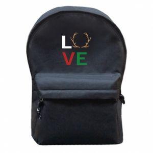 Backpack with front pocket Love deer