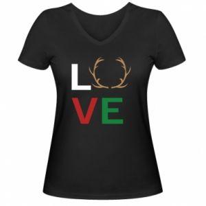 Damska koszulka V-neck Love deer