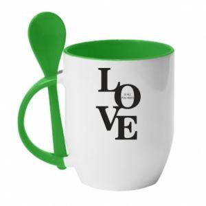 Kubek z ceramiczną łyżeczką Love is all you need