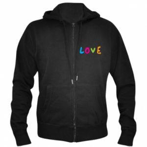 Męska bluza z kapturem na zamek Love, color