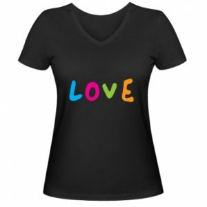 Damska koszulka V-neck Love, color