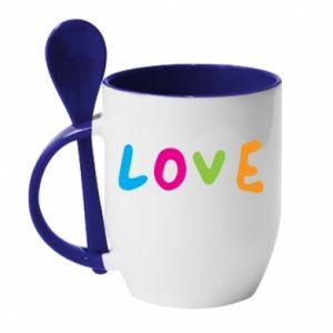 Kubek z ceramiczną łyżeczką Love, color