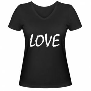 Damska koszulka V-neck Love napis