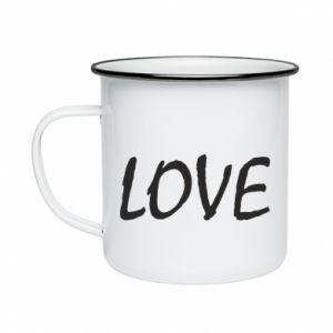 Kubek emaliowany Love napis
