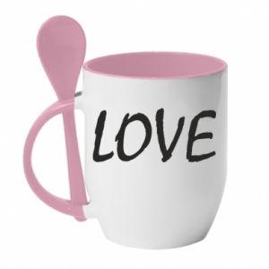Kubek z ceramiczną łyżeczką Love napis