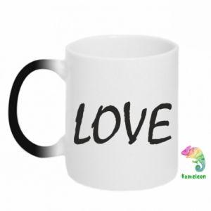 Kubek-kameleon Love napis