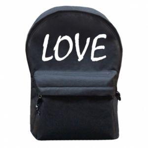 Plecak z przednią kieszenią Love napis
