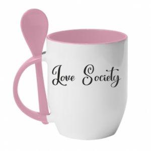 Kubek z ceramiczną łyżeczką Love society