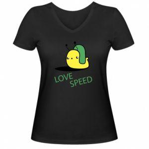 Damska koszulka V-neck Love speed