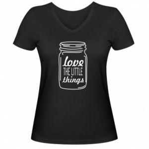 Damska koszulka V-neck Love the little things