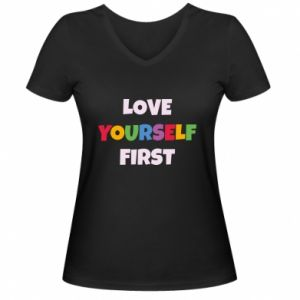 Damska koszulka V-neck Love yourself first