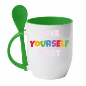Kubek z ceramiczną łyżeczką Love yourself first