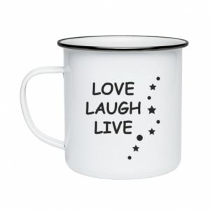 Kubek emaliowany Love. Laugh. Live
