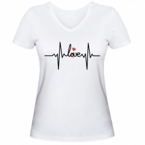 Damska koszulka V-neck Miłość i serce - PrintSalon