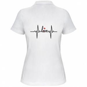 Damska koszulka polo Miłość i serce - PrintSalon