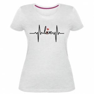 Damska premium koszulka Miłość i serce