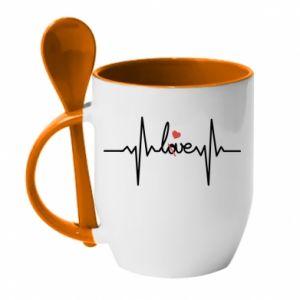 Kubek z ceramiczną łyżeczką Miłość i serce - PrintSalon