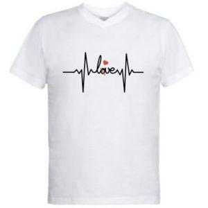 Męska koszulka V-neck Miłość i serce