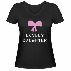 Women's V-neck t-shirt Lovely daughter