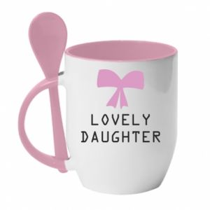 Mug with ceramic spoon Lovely daughter