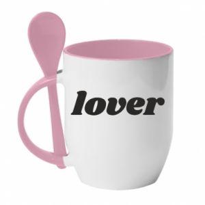 Kubek z ceramiczną łyżeczką Lover