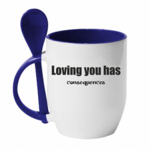 Kubek z ceramiczną łyżeczką Loving you has consequences
