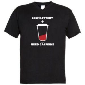 Męska koszulka V-neck Low battery