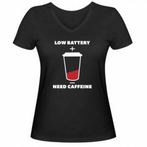 Damska koszulka V-neck Low battery