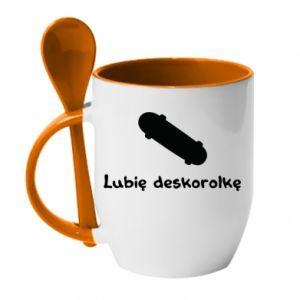 Kubek z ceramiczną łyżeczką Lubię deskorolkę - PrintSalon