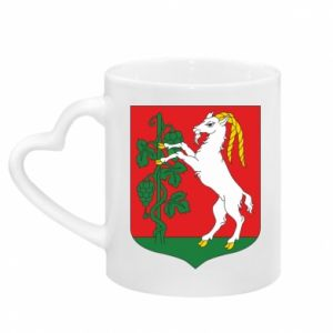 Mug with heart shaped handle Lublin coat of arms