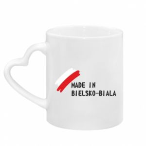 Mug with heart shaped handle Made in Bielsko-Biala