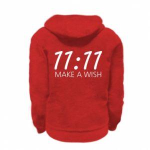 Kid's zipped hoodie % print% Make a wish
