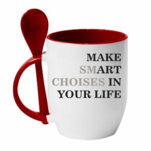 Kubek z ceramiczną łyżeczką Make art in your life
