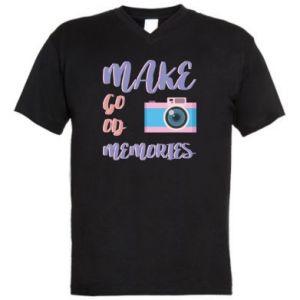 Męska koszulka V-neck Make good memories
