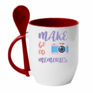 Kubek z ceramiczną łyżeczką Make good memories