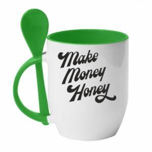 Kubek z ceramiczną łyżeczką Make money honey