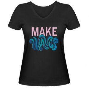 Damska koszulka V-neck Make wawes