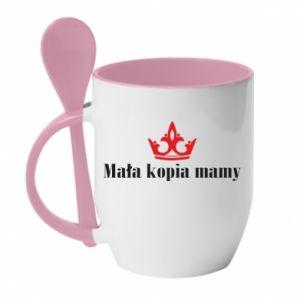 Mug with ceramic spoon Little copy of mom - PrintSalon