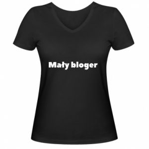 Women's V-neck t-shirt Little blogger boy - PrintSalon