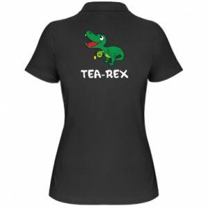 Damska koszulka polo Mały dinozaur z herbatą - PrintSalon